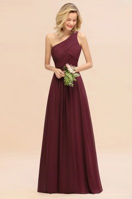 Chic Long One Shoulder Ruffle Chiffon Burgundy Bridesmaid Dresses