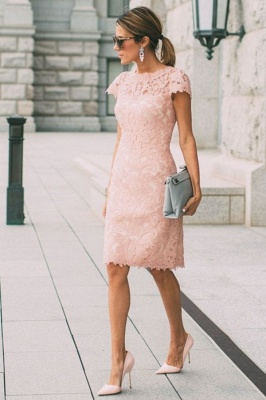 Round Neck Short Sleeves Grace Pink Lace Midi Wedding Guest Dresses