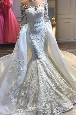 Jewel Long Sleeves Lace Mermaid Detachable Wedding Dresses_1