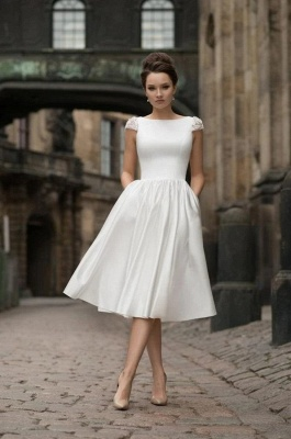 Jewel Cap Sleeves A-line Stiff Grace Midi Wedding Guest Dresses