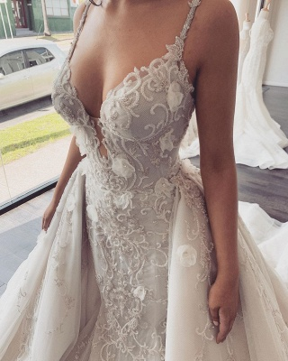 Spaghetti Straps V-neck Sexy Mermaid Wedding Dresses with Detachable Sparkle Overskirt_4