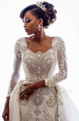 Luxury Lace Appliques Mermaid Wedding Dresses  | Beads Long Sleeve Gorgeous Bridal Gowns_1
