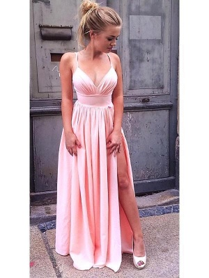 Hot Pink Spaghetti Strap A Line Bridesmaid Dresses With Slit_1