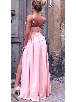 Hot Pink Spaghetti Strap A Line Bridesmaid Dresses With Slit_2