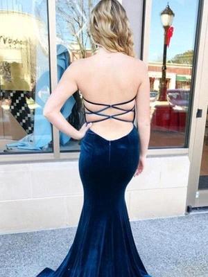 Dark Navy Velvet Mermaid Prom Dresses   Criss-cross Back Party Gown_2