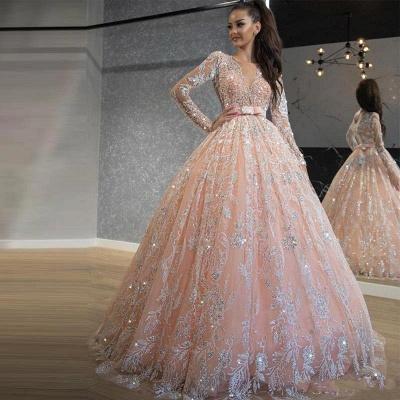 Pink Long Sleeve Jewel Applique Ball Gown Wedding Dresses_2