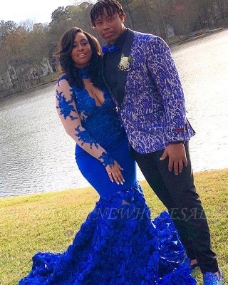 Lace Mermaid Royal Blue Prom Dresses Long Sleeves Halter Evening Gowns_3