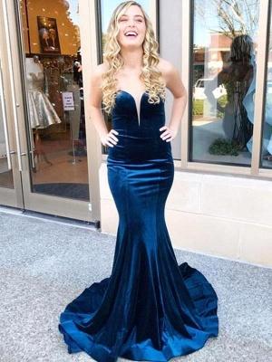 Dark Navy Velvet Mermaid Prom Dresses | Criss-cross Back Party Gown_1