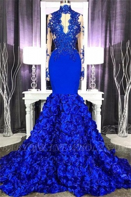 Lace Mermaid Royal Blue Prom Dresses Long Sleeves Halter Evening Gowns_2