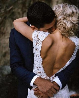 Elegant Cap Sleeve Lace Mermaid Wedding Dresses   Backless wedding Gown_3