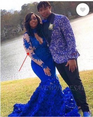 Lace Mermaid Royal Blue Prom Dresses Long Sleeves Halter Evening Gowns