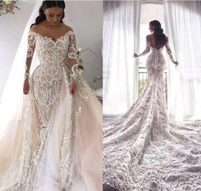 Gorgeous Long Sleeve Lace Mermaid Wedding Dresses | V Neck Wedding Gown With Detachable Train_2