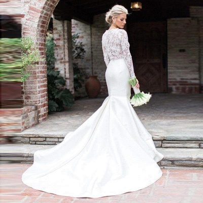 Jewel Long Sleeve Lace Mermaid Wedding Dresses | Fit And Flare Wedding Gown_2