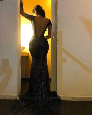 Black Long Sleeve Applique Mermaid Prom Dresses | Backless Fit And Flare Party Dresses_2