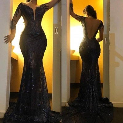 Black Long Sleeve Applique Mermaid Prom Dresses | Backless Fit And Flare Party Dresses_3