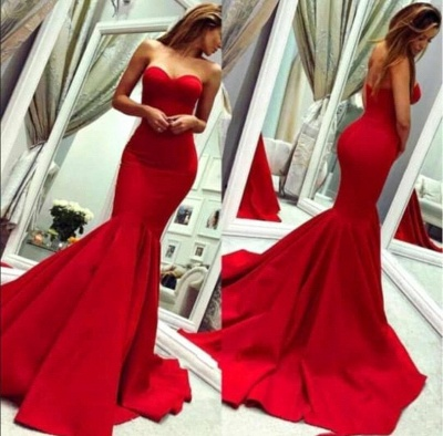 Red Sweetheart Mermaid Prom Dresses | Sweetheart Fitted Evening Dresses_1