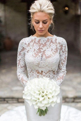 Jewel Long Sleeve Lace Mermaid Wedding Dresses | Fit And Flare Wedding Gown_3