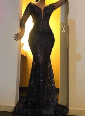 Black Long Sleeve Applique Mermaid Prom Dresses | Backless Fit And Flare Party Dresses