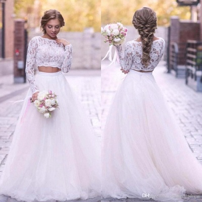 2 Piece Lace Wedding Gowns Tulle Skirt Floor Length Bridal Gowns_1