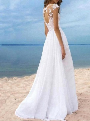 Sexy A-Line Chiffon Tulle Lace Sleeveless Wedding Dress with Slit On Line_2