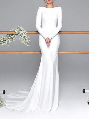 Gorgeous Mermaid Jewel Long Sleeves Wedding Dress with Open Back_1