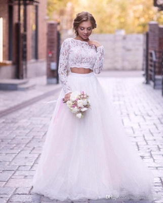 2 Piece Lace Wedding Gowns Tulle Skirt Floor Length Bridal Gowns_4