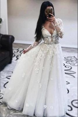 Elegant V-Neck Long Sleeves Tulle Appliques Ruffles Wedding Dress_2