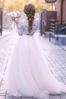 Elegant White Tulle Lace Wedding Dresses With Long Sleeves_2