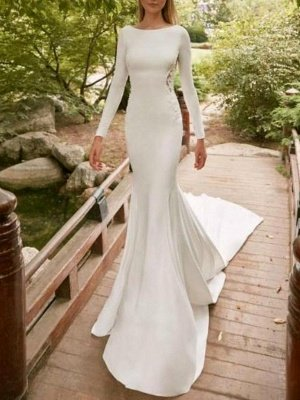 Sexy Mermaid Long Sleeves Wedding Dresses Lace Bridal Gowns_1
