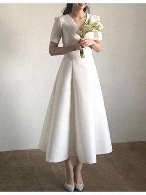 Vintage A-Line V Neck Satin Short Sleeves Wedding Dress with Sweep Train_2