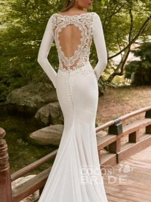 Sexy Mermaid Long Sleeves Wedding Dresses Lace Bridal Gowns_2