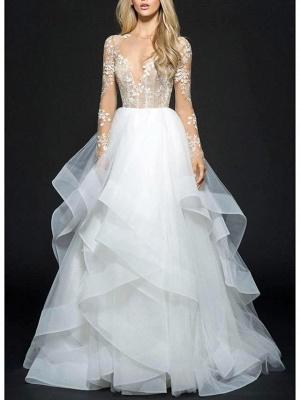 Illusion Ball Gown V Neck Organza Long Sleeve Floor Length Wedding Dresses_1