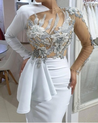 Sexy Asymmetrical Mermaid Long Sleeves Charmeuse Lace Wedding Dress with Beadings_2