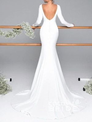 Gorgeous Mermaid Jewel Long Sleeves Wedding Dress with Open Back_2