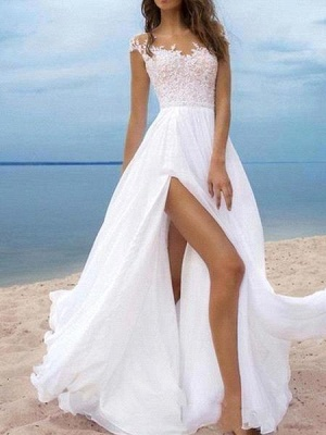 Sexy A-Line Chiffon Tulle Lace Sleeveless Wedding Dress with Slit On Line