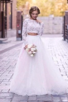 Elegant White Tulle Lace Wedding Dresses With Long Sleeves_1