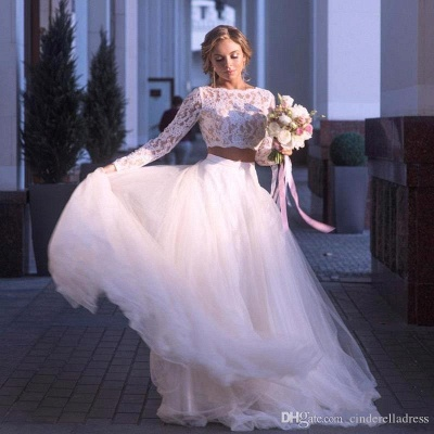 2 Piece Lace Wedding Gowns Tulle Skirt Floor Length Bridal Gowns_2