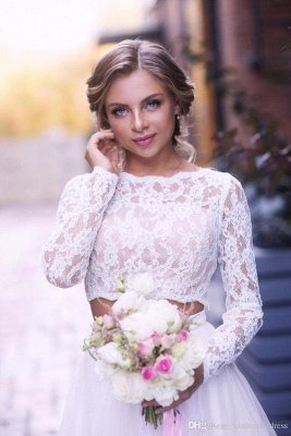 2 Piece Lace Wedding Gowns Tulle Skirt Floor Length Bridal Gowns_6