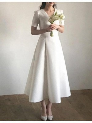 Vintage A-Line V Neck Satin Short Sleeves Wedding Dress with Sweep Train_2