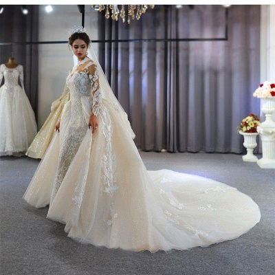 Jewel Lace Long Sleeves Mermaid Wedding Gowns 2021 with Train_6