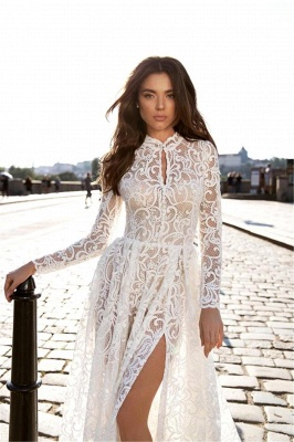 Sexy A-Line High-Neck Lace Long Sleeves Wedding Dress with Slit_3