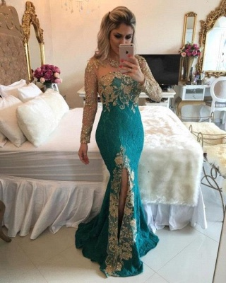 Green Prom Dresses Long Sleeves Pearls Evening Gown Memraid with split_1