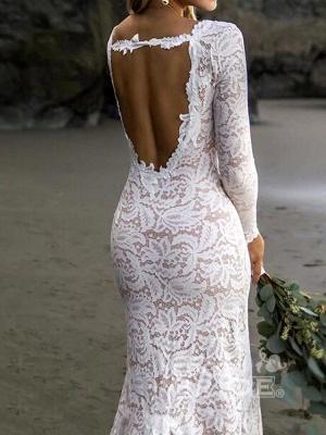 Chic Sheath V-Neck Long Sleeves Lace Beadings Wedding Dress with Slit_3