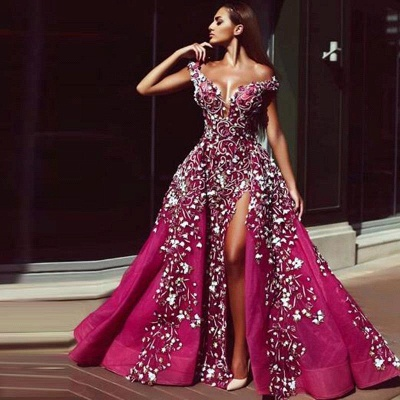 Sexy A-Line Off-Shoulder Sweetheart Sleeveless Beadings Prom Dress with Slit_2