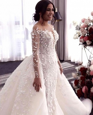 Luxury Long Sleeves Flower Lace Mermaid Wedding Gowns with train_3