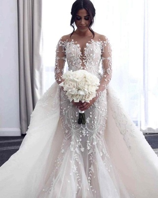 Luxury Long Sleeves Flower Lace Mermaid Wedding Gowns with train_1