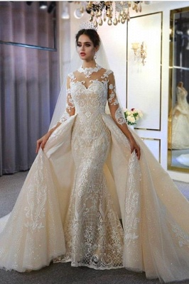 Jewel Lace Long Sleeves Mermaid Wedding Gowns 2021 with Train_1