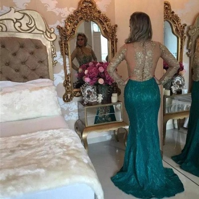 Green Prom Dresses Long Sleeves Pearls Evening Gown Memraid with split_2