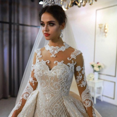 Jewel Lace Long Sleeves Mermaid Wedding Gowns 2021 with Train_3