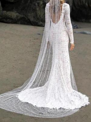 Chic Sheath V-Neck Long Sleeves Lace Beadings Wedding Dress with Slit_2